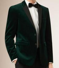 High Quality Dark Green Velvet Mens Suits Groom Tuxedos Groomsmen Wedding Party Dinner Best Man Suits (Jacket+Pants+Tie) K:2728(China)