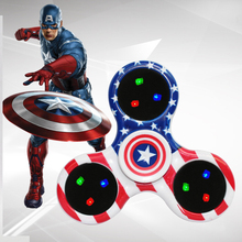 Buy Captain America LED Light Hand Finger Spinner Fidget Plastic EDC Fingertips Autism ADHD Relief Focus Anxiety Stress Toys for $2.99 in AliExpress store