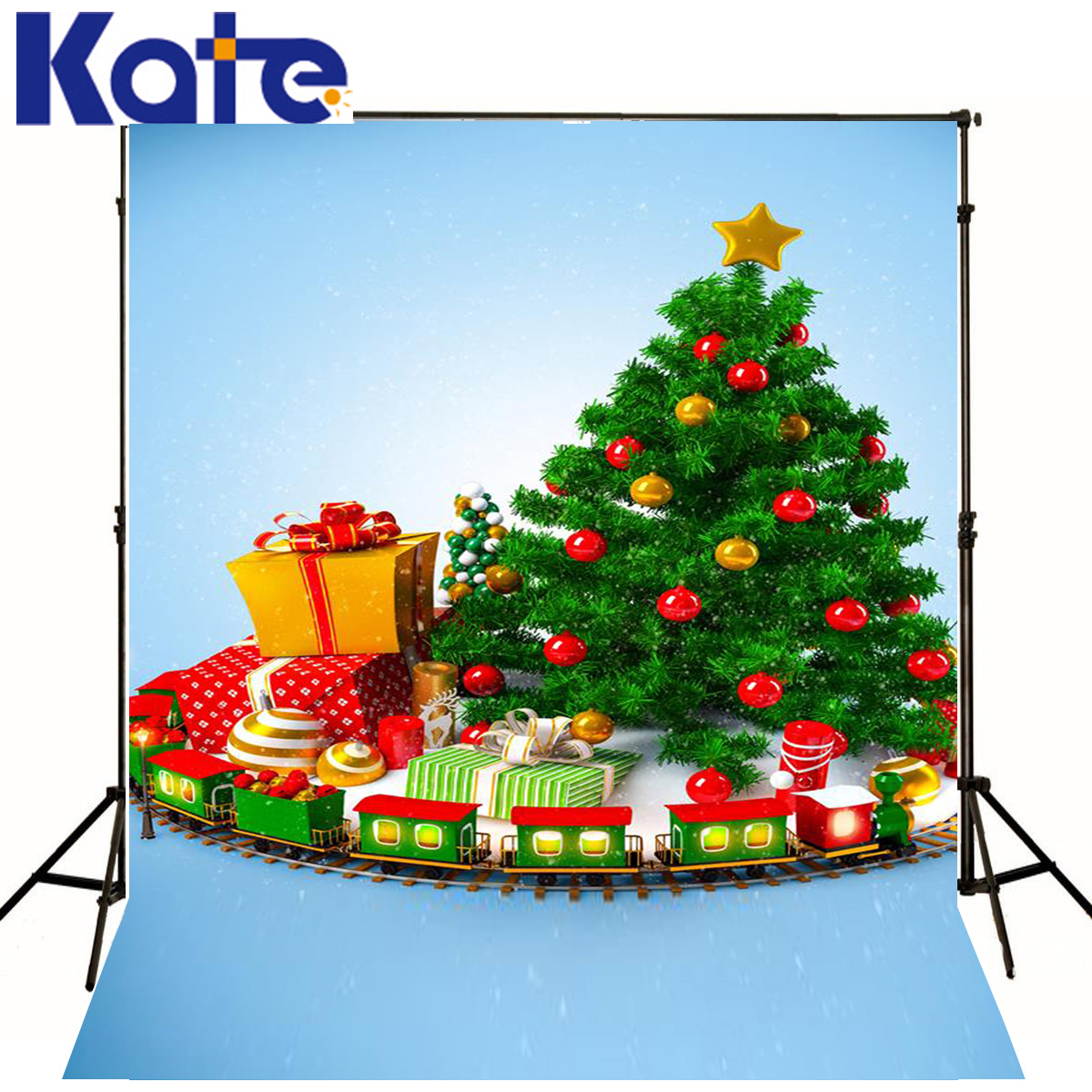 Christmas Photo Background Presents Star Ball Photography Background Children Green Tree Train Background For Photos<br>