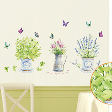 Country Style Fresh Plants Flying Butterfly Home Decor Wall Sticker For Living Room Chic Bar Counter Decoration PVC Wall Decals
