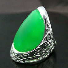 27X33mm Genuine Solid 925 Sterling Silver Green Jades Ring Size 7/8/9/10