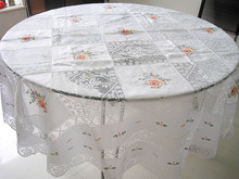 8 buckle handmade tuscany lace round table cloth hand embroidered glass yarn round tablecloth treasures(China)