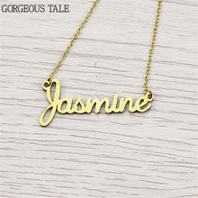 Custom Name Necklace Valentines Gift Stainless Steel Nameplate Collares Vintage Women Personalized Jewelry Rose Gold Chain Kolye(China)