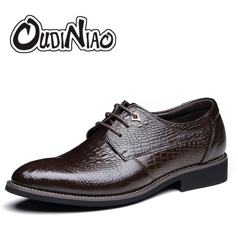 OUDINIAO Mens Shoes Casual Hot Sale Lace Up Casual Dress Shoes Men Business Alligator Luxury Solid Black Mens Shoes 2018<br>