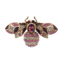 6 Colors Charming Vintage Retro Bee Rhinestone Crystal Insect Brooch Pin Woman Brooch Party Jewelry 6608(China)
