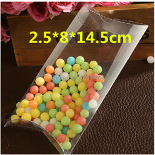80pcs/lot 14.5*8*2.5cm pillow shaped plastic candy box/ baby shower box/ wedding supplies for invitation