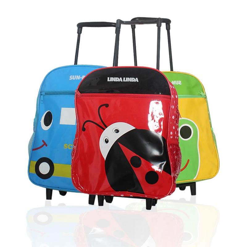 PU leather detachable kids trolley travel bag printing animals cartoon school backpack kindergarten wheeled rolling Pupils bags<br><br>Aliexpress