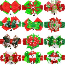 4Pcs/lotKids Christmas Headband Christmas Headband Red Green Bow Christmas Hair Clip Christmas Hair Accessories