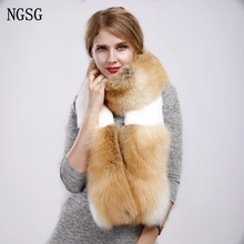 Real Fur Fox Scarves 180 cm Women Rex Rabbit Scarf Stitching Fashion Style Genuine Fur Thick Office Worker Popular Scarves WS002