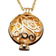 Copper 4X Love Fragrance Essential Oil Aromatherapy Diffuser Gold Hollow Round 30MM Lockets Charms Pendant Pads Perfume Necklace(China)