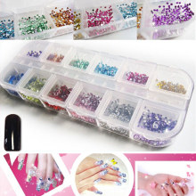 12 Cells 2000pcs Mix 12 Colors 2mm Round Without Glue Flatback Resin Non Hotfix Nail Rhinestones(Hong Kong)