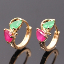 Fashion Jewelry Green R AAA Cubic Zirconia Charm Gold-Color Earrings 2colors