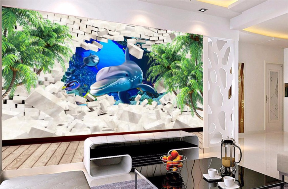 Wallpaper For Walls 3 D Dolphin Coconut Tree Wall papers Home Decor TV Backdrop Living room Bedroom<br>