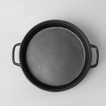 High quality 28CM Flat bottom  cast iron frying pan old fashioned  manual no coating pan