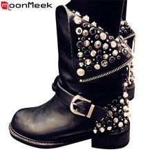 MoonMeek 2017 new genuine leather +pu fashion boots women zipper rivets square heels autumn winter ankle boots ladies snow shoes(China)