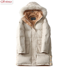 OMLESA 2017 Autumn And Winter Women's Fashion Feather Jacket Thick Section Of Women Slim Long Jacket Leisure Hooded Coat za424(China)