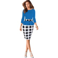 Women's Fashion Elegant Belted Tartan Business OL Casual Party Tunic Bodycon Pencil Dress