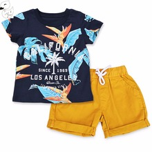 BINIDUCKLING 2017 Baby Boys Sets Summer Boys Sets Clothes T shirt+short Pants cotton sports Letter printed Set Children Suit(China)