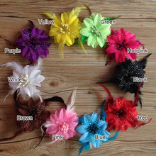 Hair accessory 80pcs/lot Wholesale Infant baby girl Clips feather flowers for hair crochet headband 10Colors Hair bows