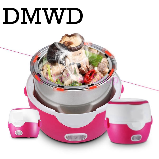 DMWD MINI rice cooker heating electric 2 double layers lunch box insulation Steamer multifunction automatic Food Container 1.3L<br>