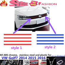 Car body protection Plastic trim Front up racing Grid Grill Grille frame lamp hoods part 6pcs for VW Golf7 Golf 7 2014 2015 2016