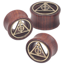 Mix 8-20mm Death Triangle Piercing Tunnels Ear Plugs Gauges Wood Body Jewelry Ear Expander