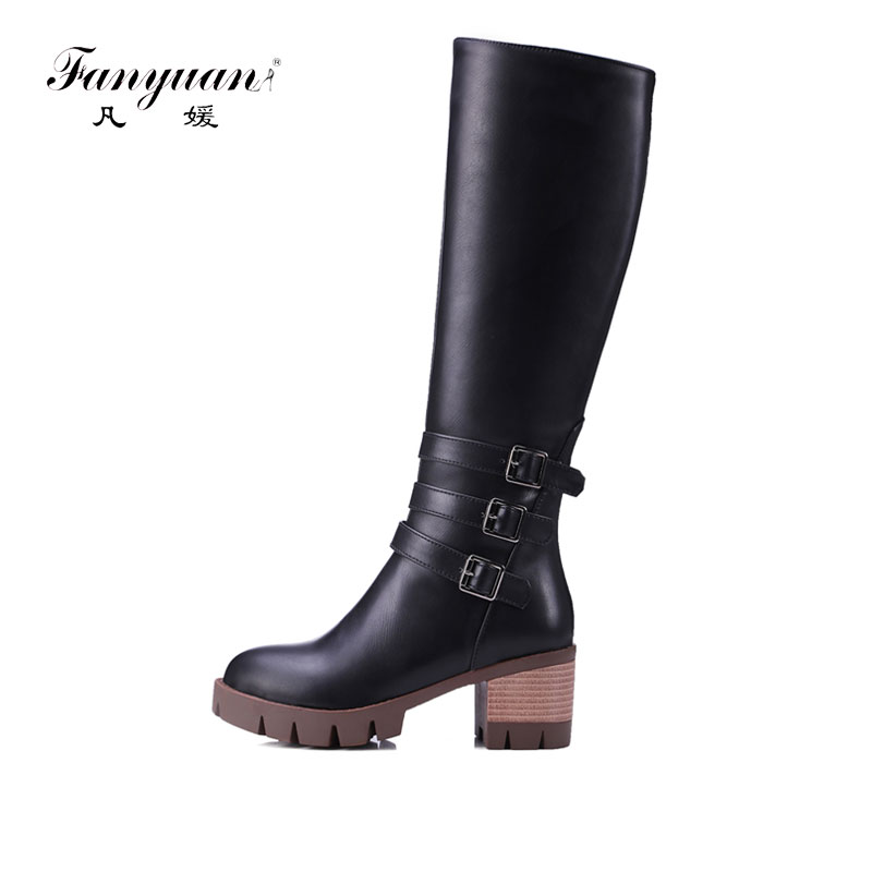 Fanyuan  Buckle Knee High Boots Thick High Heels Knight Boots Platform Shoes Woman Autumn Winter Boots Cool Winter Shoes Woman<br>