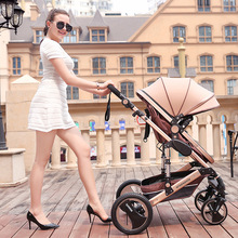 High View Baby Stroller Aluminum Alloy Frame Pram 2in1 Can Sit & Lie Baby Carriage Shock Proof Trolley Umbrella Baby Car