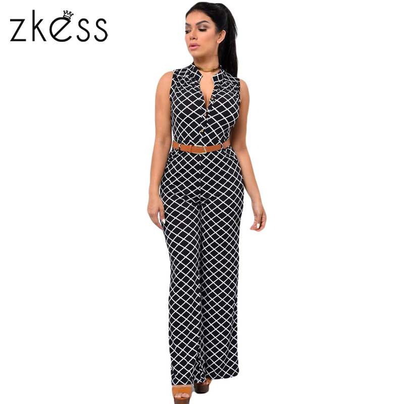 Zkess Jumpsuit Long Pants Women Rompers Sleeveless XXL V-neck 2017 Belt Solid  Night Club Elegant Slim Jumpsuits Overalls