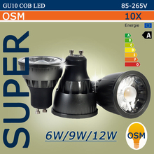 OEM Wholesale LED Spotlight GU10 COB Dimmable led bulb 6W 9W 12W Warm White / white 85-265V Ultra Bright GU 10 Bulbs 85-265V