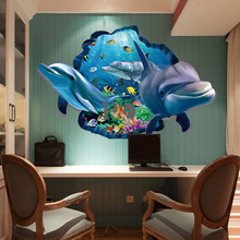 PVC Dolphin Sea Scenes Window View Removable Wall Sticker 3D Through Wall Decor Home Bedroom Living Room Decoration Accessories(China)