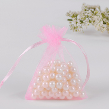 Pink Organza Bags 11x16cm Small Gift Bags For Soap Packaging Can Custom Logo Printing Bags For Wedding Favors(China)