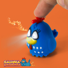 Galinha Pintadinha Cartoon toy figure LED light+Crow sound Brazil cock Samba Phone pendant Car&Bag deco Giveaway Torch keychain