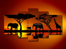 5 Panels 100% Handmade Elephant Oil Painting On Canvas home decor Wall Art Gift African Southeast Asia scenery