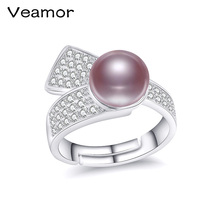 VEAMOR Pearl Jewelry Natural Pearl Rings for Love,100% Freshwater Pearl 925 Silver Ring,Ruby Silver Ring for Women With Gift Box(China)
