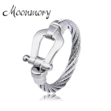 Moonmory European 925 Sterling Buckle Wedding Ring For Women France Fashion Jewelry With Gray Stainless Steel Round Ring