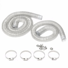 2pcs Industrial Extractor Dust Collector Hose 1.5/2.5m + 4pcs Stainless Steel Hoops with 4pcs Screws For CNC Machine WoodWorking