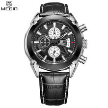MEGIR Chronograph Men Watches Fashion Men 's Jewelry Luxury Brand Quartz Wristwatch Genuine Leather Watch relogio masculino