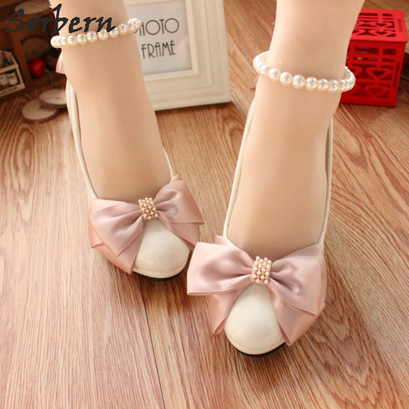 Sorbern Blush Pink Bow Beading Ankle Strap Round Toe Bridesmaid Shoes White Wedding Shoes High Heels Pumps Bridal Shoes 2018<br>