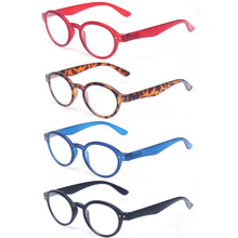 Reading Glasses 4 Pack Classic Retro Vintage Round Frame Readers Men and Women Springe Hinge Color Diopter Glasses