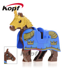 XH 595 Building Blocks Knight Wars Blue Horse Steed Super Heroes Medieval Rome Knights Modle Toys Education Gift For Children(China)