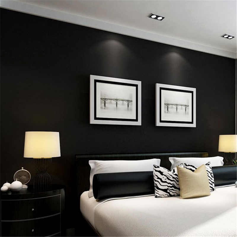 beibehang Silk black frosted ceiling wallpaper pure black fashion personality simple clothing store full shop retro wallpaper<br>