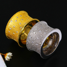 Latest Fashion Women CZ Long Rings   Gold-color AAA Cubic Zirconia Clear White Pave Setting Lead Free Brass Wedding Ring