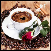 Coffee & Rose picture 3D diamond painting cross stitch round diamond embroidery mosaic pattern wall sticker  home decor