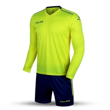 Kelme K16Z2004L Men Autumn Long Sleeve Thin Training Light Board Team Football Jersey Suit Yellow Navy Wholesale