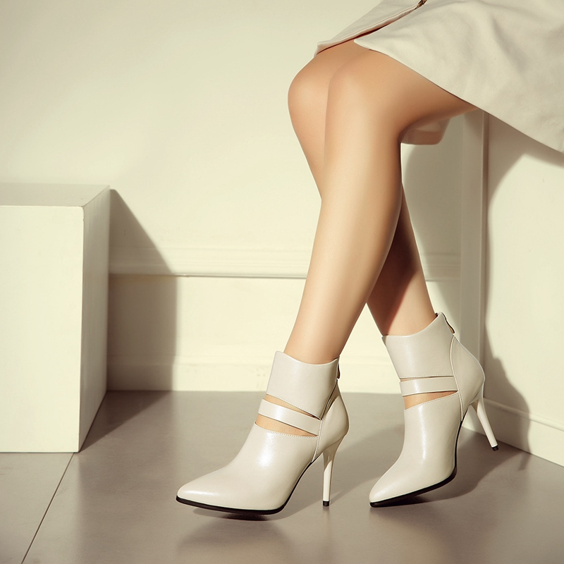 Spring Newest Beautiful Elegant Black White Pointy Toe Thin high Heels Naked Boots For Women Hot Sale Booties Shoes Frauen<br><br>Aliexpress