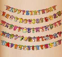 Kids Happy Birthday Letter Paper Garland Balloon Flower 1st Baby Bottle Sports Animal Zoo Theme Party  Bunting