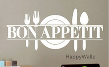 Bon Appetite Family Quote Wall Stickers DIY Bon Appetite Dining Room Wall Decal Decorative Home Quotes Vinyl Wall Art Decal Q108(China)