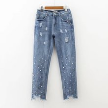 New spring storage color nail bead burr hole fashion jeans trousers denim jeans 0521(China)