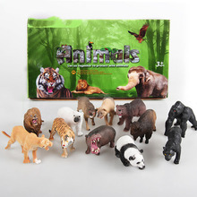 12 Pc/lot Jungle Simulation Wild Animals Toy Figures Panda Gorilla Hippo Leopard Tiger Lion Giraff for Children Gift WX249